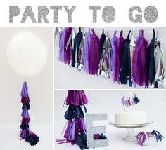 Party to Go, Tissue Tassel Decor Birthday Package on Etsy, #birthday #party #package #set #bundle #tassel #tissue #balloon #36inch #round #cake #topper #garland #fancy #frill #setup #decor #decorations #purple #plum #lavender #navy #blue #letter #glitter #silver