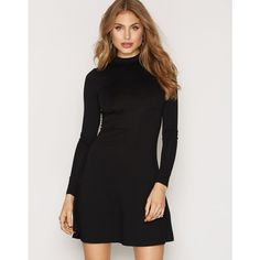 Nly Trend Simple Shift Dress (£23) ❤ liked on Polyvore featuring dresses, black, womens-fashion, long sleeve shift dress, long sleeve jersey dress, long-sleeve turtleneck dresses, long-sleeve shift dresses and turtleneck dress