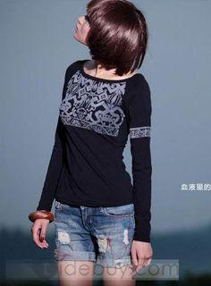 Glamour Round Neckline Long Sleeve Floral Imprint T-Shirt
