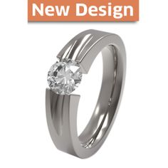 Haly Solitaire Gem Titanium Engagement Ring - 6mm gemstone securely hugged in tension setting system