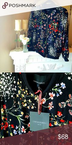 NWT CYNTHIA ROWLEY Floral Bomber Jacket S Blogger favorite...!  NWT Cynthia Rowley Sz S (will also fit a sz M) Gorgeous colors...! So fabulous with white, denim, black, etc. The perfect accessory to a basic sundress or shorts...! Cynthia Rowley Jackets & Coats