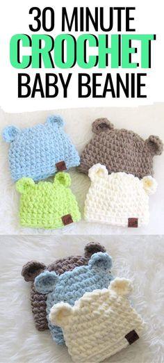 Easy Crochet Baby Hat, Easy Baby Knitting Patterns, Crochet Baby Hats Free Pattern, Crochet Baby Hat Patterns, Cute Crochet, Free Crochet Patterns For Beginners, Crochet Hats, Diy Bebe, Shower Bebe