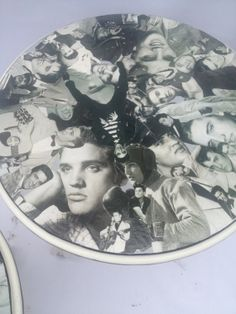 Pair of  recycled Elvis Presley decoupaged end tables, side tables, night stands on Etsy, $500.00