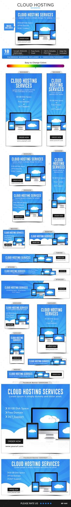 Cloud Hosting Banners Design Template - Images Included - Banners & Ads Web…