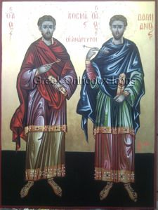 Saints Anargyroi - Ἅγιοι Ἀνάργυροι. For more go to https://greekorthodoxicons.wordpress.com/2015/09/21/saintsanargyroi/