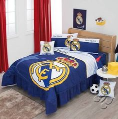 New Blue Real Madrid FC Soccer Comforter Bedding Sheet Set Kids Blankets, Kids Pillows, Coverlet Bedding, Comforters, Soccer Bedroom, Kids Bedroom, Football Bedroom, Bedroom Ideas, Kids Comforter Sets