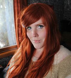 WIG by Miss Violet Lace. SUNRISE // Auburn Red Ombre Hair // Straight Natural Wavy Long Redhead wig. $88.00, via Etsy.