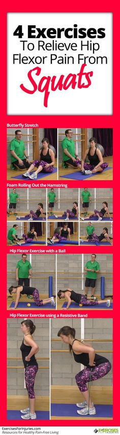 Hip pain can develop when people do exercises like squats. Here are four exercises that allow you to relieve hip flexor pain from squats. Hip Flexor Pain, Hip Flexor Exercises, Hip Stretches, Tight Hip Flexors, Hip Pain, Back Pain, Do Exercise, Regular Exercise, Lumbar Pain