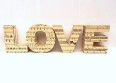 LOVE 3D Freestanding Lettering Sheet Music Maps Custom Home Decoration Wedding Present Ornament