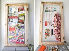 chicken wire + window frame = accessory and card holder
