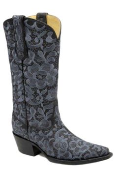 Corral Boots Women's Black & Grey Floral Lace Embroidered Cowgirl Boots - sooooo pretty!!