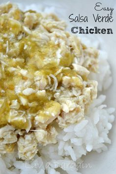 easy Salsa Verde Chicken - Simply baking chicken covered in salsa verde, served over rice or quinoa, makes for one of the easiest dinners ever.