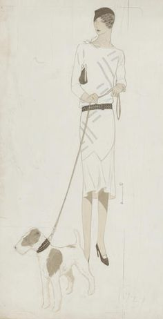 Illustration by Ernst Deutsch Dryden (1883-1938), day wear outfit, pencil and watercolour. (Austrian)