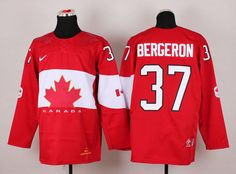 Team Canada 37 Patrice BERGERON 2014 Winter Olympics Jersey - Red
