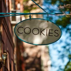 "when we opened our Cobble Hill shop, we loved the idea of literally hanging out a shingle that tells everyone in the simplest terms possible what it is we do: ""COOKIES""! #ogcdeanstreet"