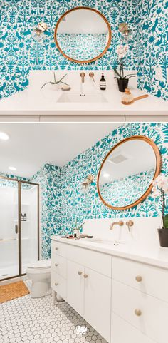 If you're eager to experiment with wallpaper, like @KateA of Wit and Delight did with this reno, the bathroom is the perfect testing ground. The space lends itself to brighter tones and bold decor choices.  [Feat. Design: White Cliff] #MyCambria