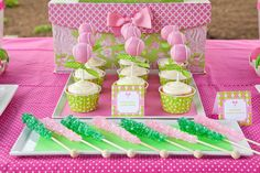 preppy tennis party with tennis ball cake pops! so cute!