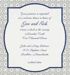 "Online Wedding invitation cards | ""ARABESQUE OS & XS"" Pickett's Press. White Wedding Invitation Template with blue border and geometric border."