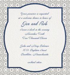 "Online Wedding invitation cards   ""ARABESQUE OS & XS"" Pickett's Press. White Wedding Invitation Template with blue border and geometric border."