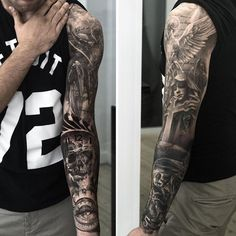 The idea of good vs. evil on the sleeve tattoo