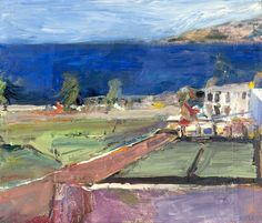 "Richard Diebenkorn (American, Bay Area Figurative Movement, 1922–1993): Prisoners' Harbor, Santa Cruz Island, 1961. Oil on canvas, 54.6 × 63.5 cm (21-1/2 x 25 inches). Santa Cruz Island Foundation, Ventura, California, USA. © Richard Diebenkorn Foundation. - ""Although the influence of Cezanne on Diebenkorn's still-life paintings was constantly filtered through the work of Matisse and Bonnard, the coastal landscapes show how pure some of his debts to this nineteenth-century predessesor could…"
