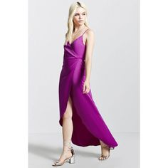 Forever21 Satin Wrap Dress ($12) ❤ liked on Polyvore featuring dresses, magenta, strappy dress, surplice dress, hi low dress, high low wrap dress and forever 21 dresses