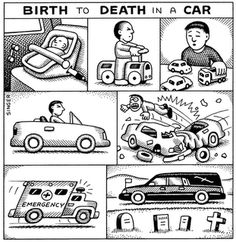 birth to death in a car by Andy Singer
