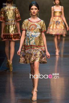 Wholesale Frauen kleiden - Kaufen New Women Elegant Angel Print Dress Fashion Luxury Vintage-Kleider 0126 Runway atemberaubenden Kleid, 57,98 $ | DHgate