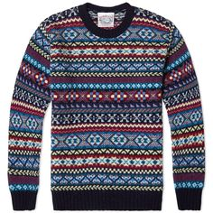 Established in the early 1890's, family owned business Jamieson's have been knitting jumpers in the wilderness of the Shetland Islands for over 120years. Their legacy in producing quality local fabrics still carries on today, this classically styled knit is constructed from 100% Pure New Wool and features a traditional all over Fair Isle design - the perfect combination of luxury and comfort. 100% Pure New Wool All Over Fair Isle Design Ribbed Collar, Cuffs and Hem Knitted on the Shetland…