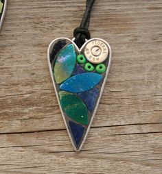 Shot through the Heart Mosaic Pendant, Stained Glass Pendant, Wearable Art by GreenLizardMosaics on Etsy