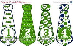 SALE Baby Boy Monthly Onesie Stickers Necktie Neck Tie Alligator Gator Green Blue Dots - UNCUT 1 - 12 Months Plus Just Born - Gift. $7.91, via Etsy.