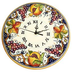 CERAMICHE D'ARTE PARRINI - Italian Ceramic Wall Round Clock Grape Art Pottery Hand Painted Decorated Grape Made in ITALY Tuscan -- Awesome products selected by Anna Churchill