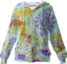 Golden Violet Sea Shells, Abstract Fractal Ocean Zip Up Hoodies from Print All Over Me #DianeClancy #printalloverme