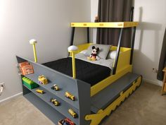 Full Size Bulldozer Bed PLANS (pdf format), Create a Construction Themed Bedroom for your Child, Perfect for the DIY Woodworking Enthusiast The Plan, How To Plan, Bedroom Themes, Kids Bedroom, Bedroom Decor, Jeep Bed, Construction Bedroom, Woodworking Enthusiasts, Bunk Bed Plans