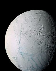 The pale beauty of Enceladus, the sixth largest moon of Saturn. Enceladus is covered entirely by ice, surface temperature at noon: -198 C. It was discovered by William Herschel in 1789. Image by the Cassini orbiter.