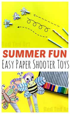Summer Straw Shooter Craft - these DIY Straw Shooter toys are so QUICK and easy to make. They are the perfect little Summer Craft for Boredom Busters. Only takes 5 minutes to make. Can be decorated in any way you want and you can have HOURS of fun! Summer Crafts For Kids, Summer Activities For Kids, Crafts For Kids To Make, Summer Fun, Straw Crafts, Diy Straw, Boredom Busters, Paper Crafts For Kids, Crafty Kids