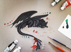 lizzydrawingshttyd: My first painting drawing of Toothless :) WOW. Toothless Dragon Tattoo, Toothless Drawing, Cute Dragon Drawing, Dragon Sketch, Cool Art Drawings, Easy Drawings, Croque Mou, Jhin League Of Legends, Toothless Wallpaper
