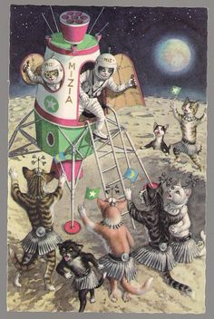 Alfred Mainzer Postcard Dressed Cats Welcoming Space SHIP with Astronauts | eBay