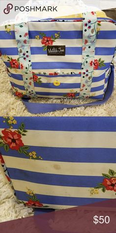 Matilda Jane Cooler/Diaper Bag It's a cooler and works great at it,  but we also used as a diaper bag. P perfect condition,  just has a couple of untreated stains on the bottom. Still has lots of life left. Matilda Jane Bags Baby Bags