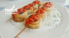 Şişte Milföylü Köfte (Yoğurt Yatağında) – Nefis Yemek Tarifleri Turkish Recipes, Ethnic Recipes, Baked Potato, Yogurt, Sushi, Potatoes, Baking, Food, Baby