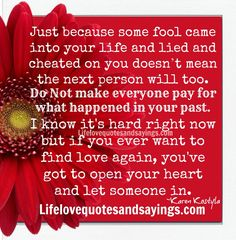 Just because some fool came into your life and lied and cheated on you doesn't mean the next person will too. Do Not make everyone pay for what happened in your past. I know it's hard right now but if you ever want to find love again, you've got to open your heart and let someone in. ~Karen Kostyla