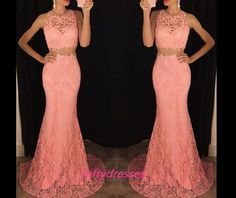 New Arrival 2016 Mermaid Prom Dress,2 Pieces Long Prom Dresses,Lace Sexy Evening Dresses