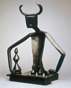 ymutate:   Max Ernst, (1891-1976) The King Playing with the Queen. 1944, (cast 1954), bronze, Mus. Mod. Art, NYC