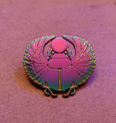 Rainbow Metal Scarab Enamel Pin