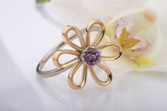 Yellow and White Gold Flower Ring. Amethyst Flower Ring by CaiSanni.