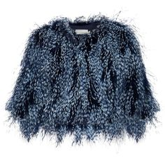 Mary Katrantzou Spike feather cropped jacket ($1,135) ❤ liked on Polyvore featuring outerwear, jackets, mary katrantzou, coats, fur, cropped jacket, evening wear jackets, fur jacket, spiked jacket and blue fur jacket