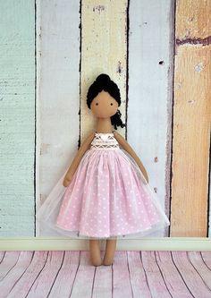 black ballerina dolll Textile Doll Tilda Doll
