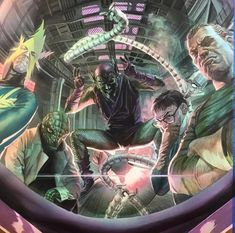 Sinister Six by Alex Ross can find Alex r. Comic Book Villains, Marvel Villains, Comic Book Characters, Comic Books Art, Comic Art, Book Art, Stan Lee Spiderman, All Spiderman, Amazing Spiderman