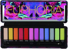 Euphoria Makeup- BYS Eyeshadow Palette Tin with Mirror and Applicator 12 Shades (1, Euphoria) : #Beauty.Euphoria Makeup, 80s makeup eyeshadow Bright Eyeshadow, Matte Eyeshadow Palette, Shimmer Eyeshadow, Makeup Palette, Makeup Eyeshadow, Full Mirror, Star Template, 80s Makeup, Neon Rainbow