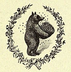 Vintage Ephemera: Engraving, bear, bees, skep, 1916